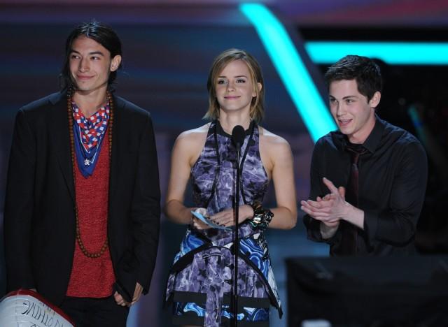 Ezra Miller, Emma Watson y Logan Lerman